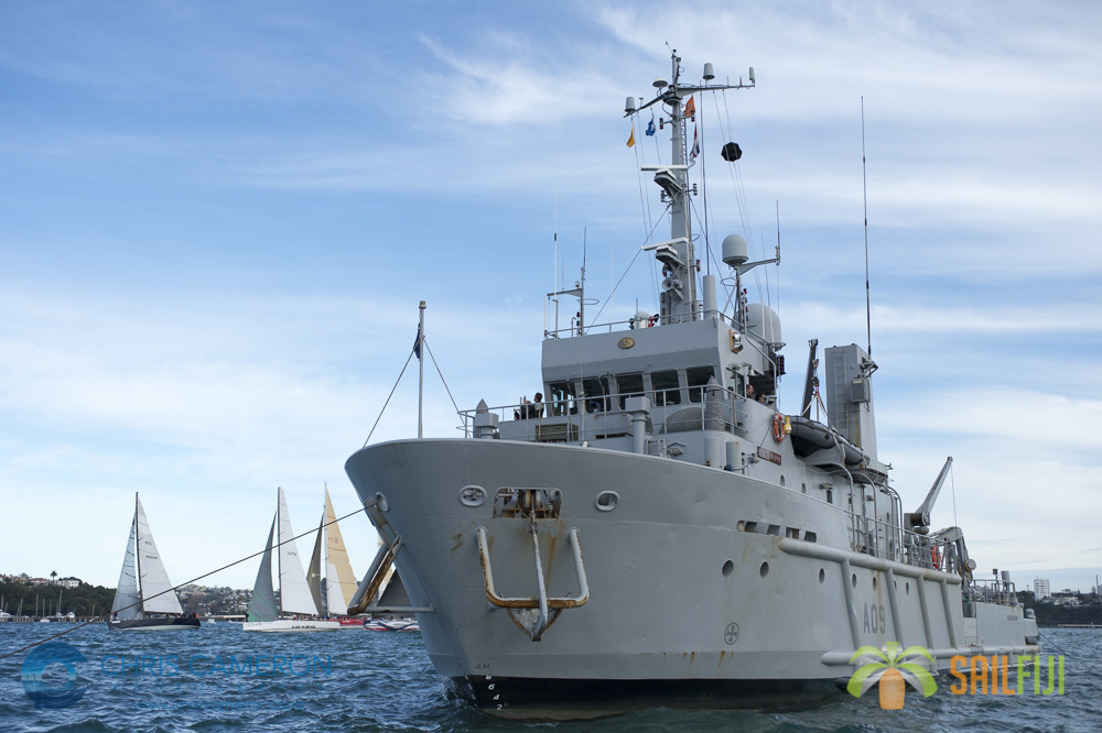 HMNZS MANAWANUI acted as the start boat for the ANZ Sail Fiji Race. 7/5/2014