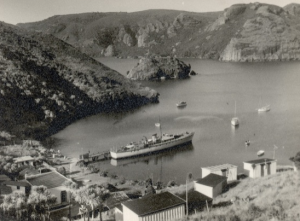 """Ngaroma"" at Kingfish Lodge, Whangaroa, C.1953 – Jim Lawler, Skipper."