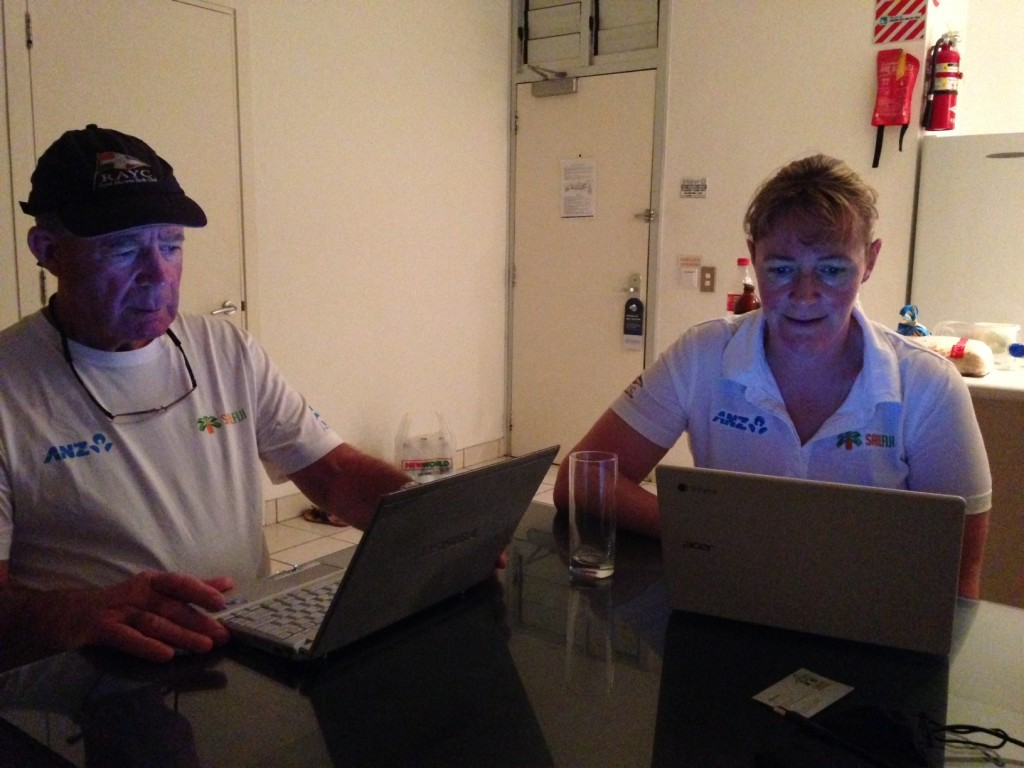 Two of the five RAYC Race Management Team, John Muir and Jenny Price, studying the tracker